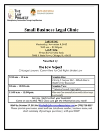 Free Small Business Legal Clinic, 11/4, Presented by The Law Project!