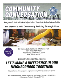 Community Conversation:  6th district 2020 Community Policing Strategic Plan