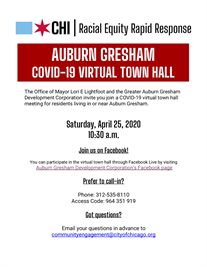 COVID-19 virtual town hall meeting for Auburn Gresham Residents 4/25!