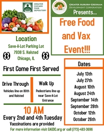 Free Food Pop Up and Vax Events (2nd and 4th Tuesdays)