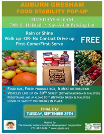 Food Stability 'Pop Up'  Tuesdays at 10:00am Extended Until Sept. 29th!