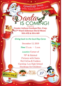 Auburn Gresham Day Cares, Santa is Coming to 79th Street December 13th!