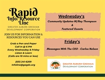 Rapid Info / Resource Call-in Line   Every Wednesday and Friday at 6PM   Call 551-241-6209