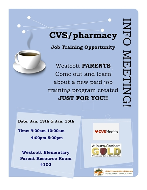 cvs  pharmacy job training information meetings for westcott elementary school parents   u2014 greater
